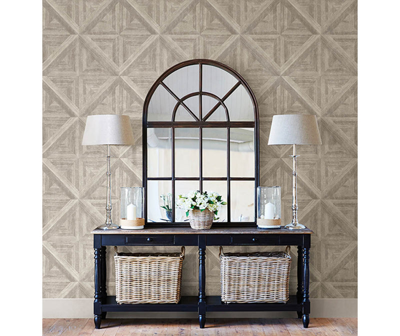 Carriage House Neutral Wood Wallpaper available at Barrydowne Paint
