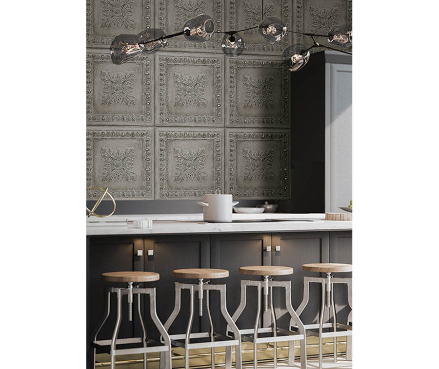 Ornamental Grey Tin Tile Wallpaper available at Barrydowne Paint