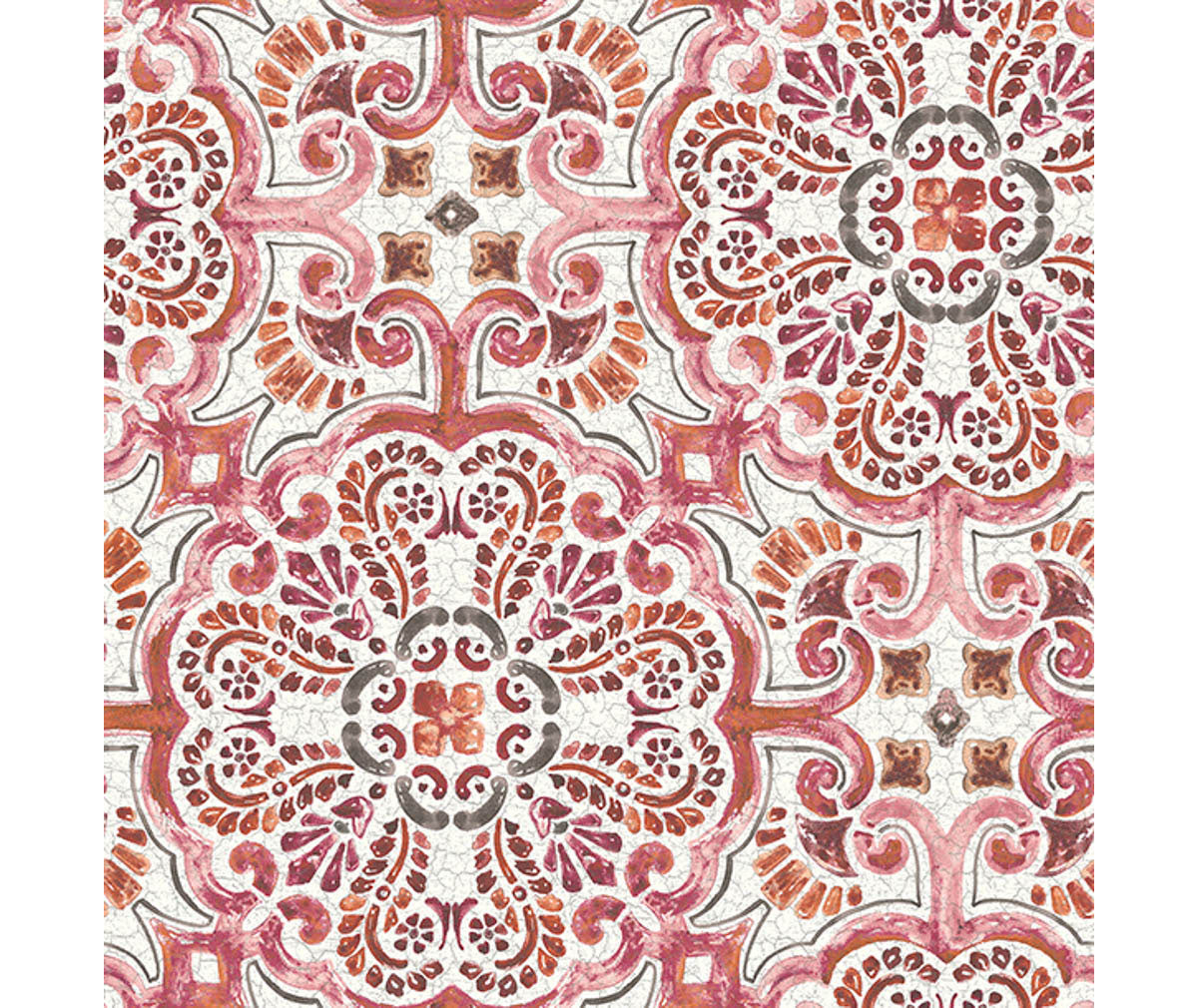 Florentine Pink Tile Wallpaper available at Barrydowne Paint