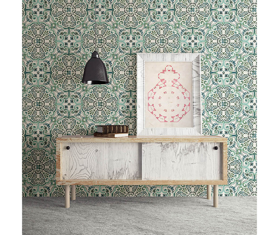 Florentine Green Tile Wallpaper available at Barrydowne Paint