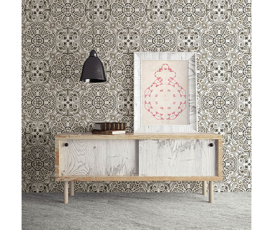 Florentine Grey Tile Wallpaper available at Barrydowne Paint