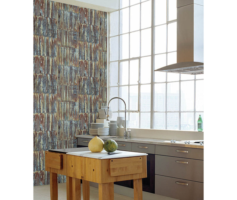 Patina Panels Multicolor Metal Wallpaper available at Barrydowne Paint