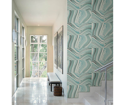 Agate Aqua Stone Wallpaper room mock-up available at Barrydowne Paint