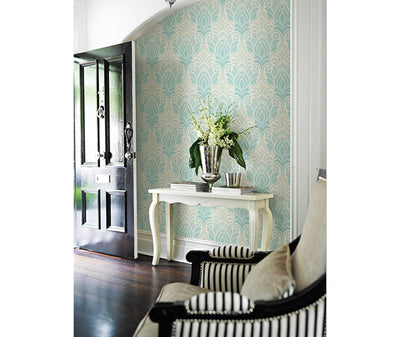 Twill Aqua Damask Wallpaper room mock-up available at Barrydowne Paint