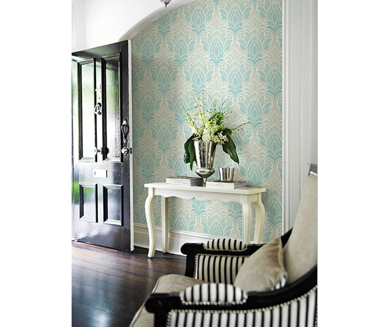 Twill Aqua Damask Wallpaper available at Barrydowne Paint