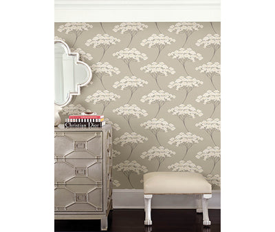 Banyan Taupe Tree Wallpaper room mock-up available at Barrydowne Paint