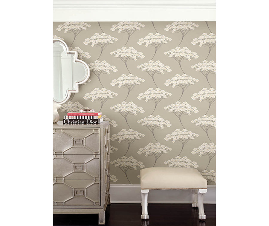 Banyan Taupe Tree Wallpaper available at Barrydowne Paint
