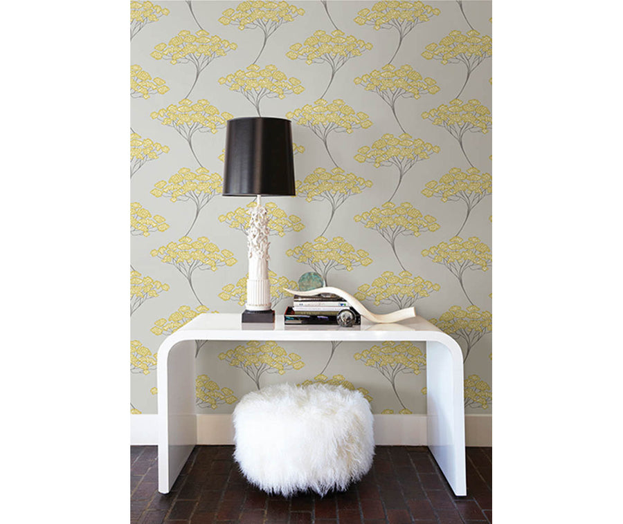 Banyan Grey Tree Wallpaper available at Barrydowne Paint