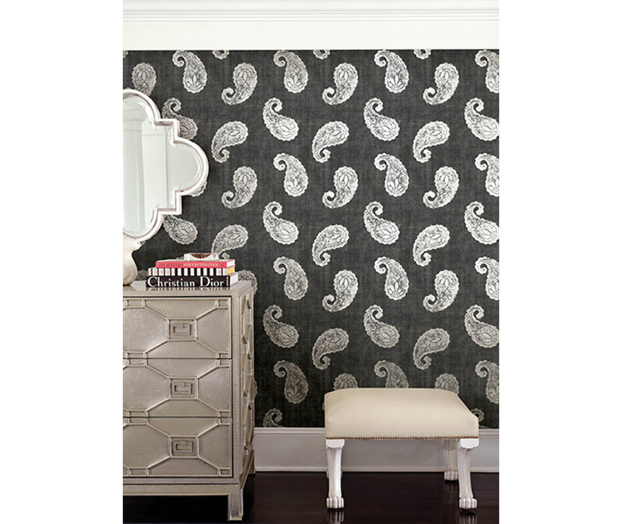 Kashmir Charcoal Paisley Wallpaper available at Barrydowne Paint
