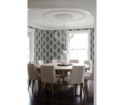 Mandara Charcoal Trellis Wallpaper room mock-up available at Barrydowne Paint