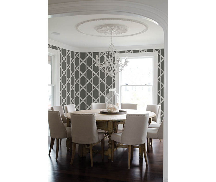 Mandara Charcoal Trellis Wallpaper available at Barrydowne Paint
