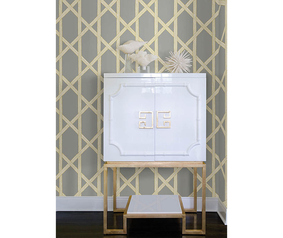 Mandara Grey Trellis Wallpaper available at Barrydowne Paint