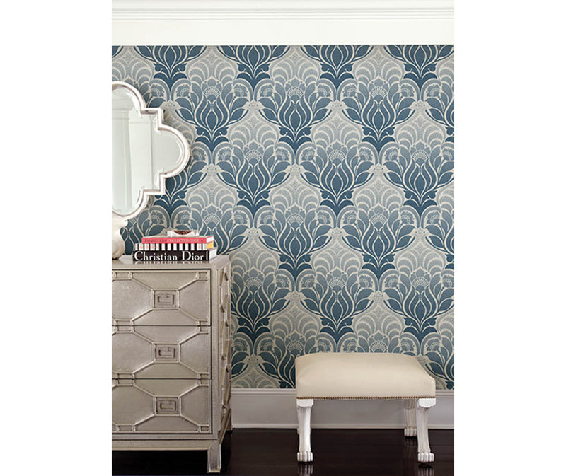 Twill Blue Damask Wallpaper available at Barrydowne Paint