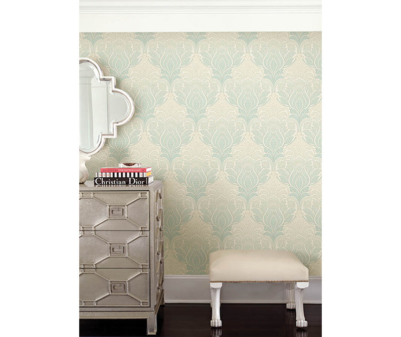 Twill Sage Damask Wallpaper available at Barrydowne Paint