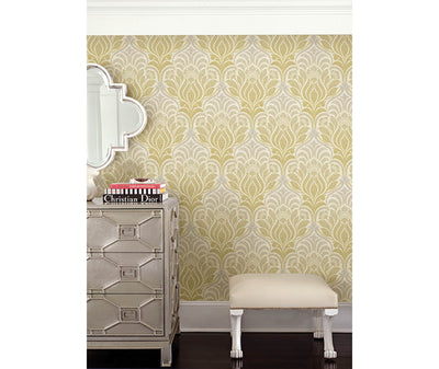 Twill Yellow Damask Wallpaper room mock-up available at Barrydowne Paint
