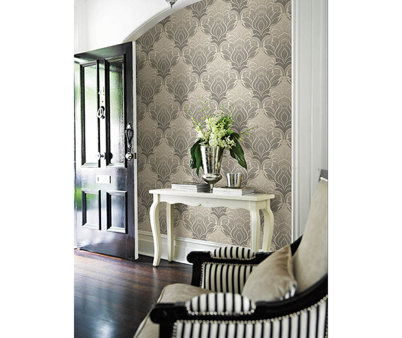 Twill Charcoal Damask Wallpaper available at Barrydowne Paint