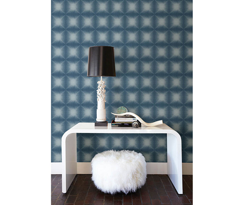 Echo Blue Geometric Wallpaper available at Barrydowne Paint