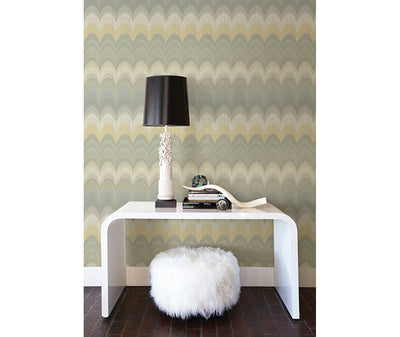 August Yellow Wave Wallpaper room mock-up available at Barrydowne Paint