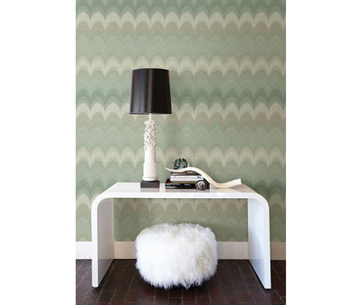 August Sage Wave Wallpaper room mock-up available at Barrydowne Paint