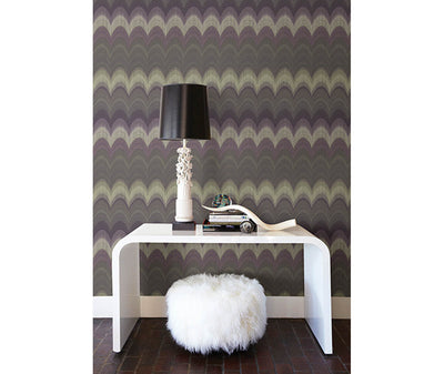 August Purple Wave Wallpaper room mock-up available at Barrydowne Paint