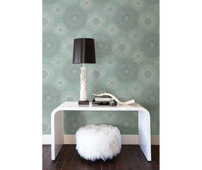 Eternity Blue Geometric Wallpaper room mock-up available at Barrydowne Paint