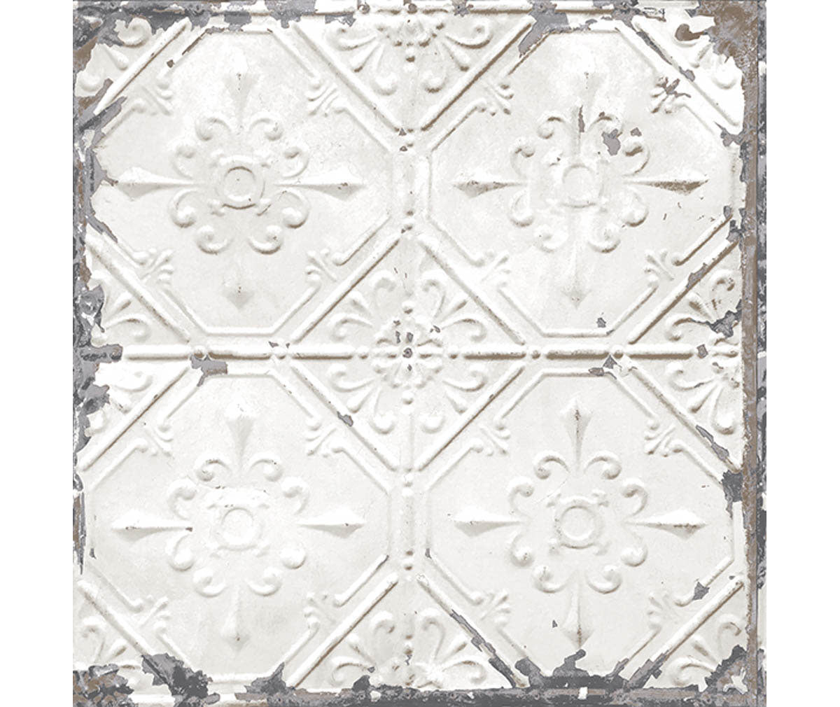 Tin Ceiling White Distressed Tiles Wallpaper available at Barrydowne Paint