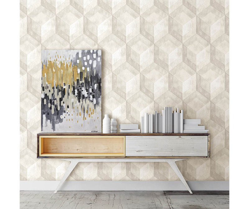Rustic Wood Tile Cream Geometric Wallpaper available at Barrydowne Paint