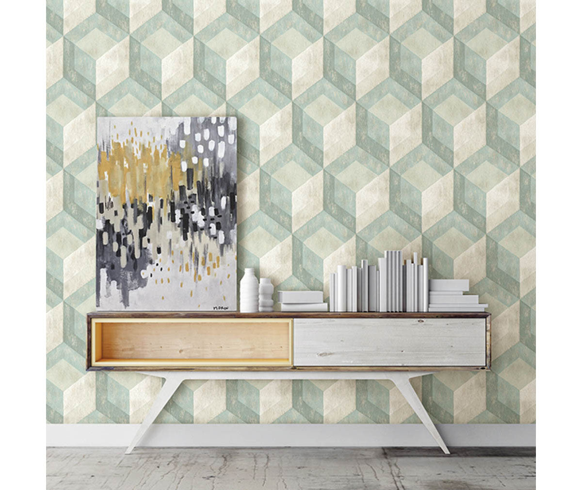 Rustic Wood Tile Green Geometric Wallpaper Room Mock Up Available At Barrydowne Paint