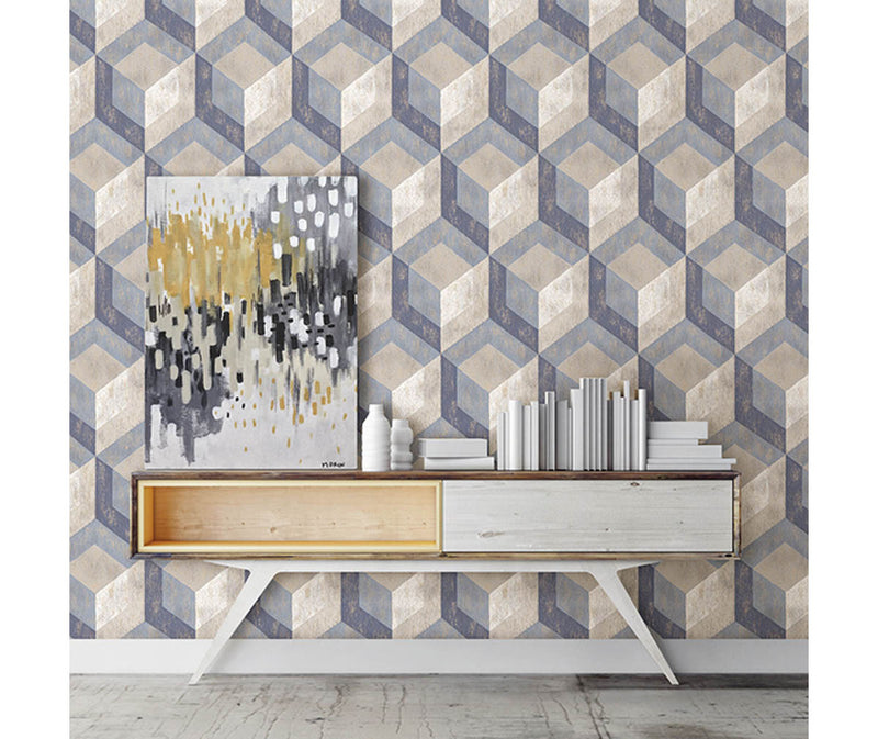 Rustic Wood Tile Blue Geometric Wallpaper available at Barrydowne Paint