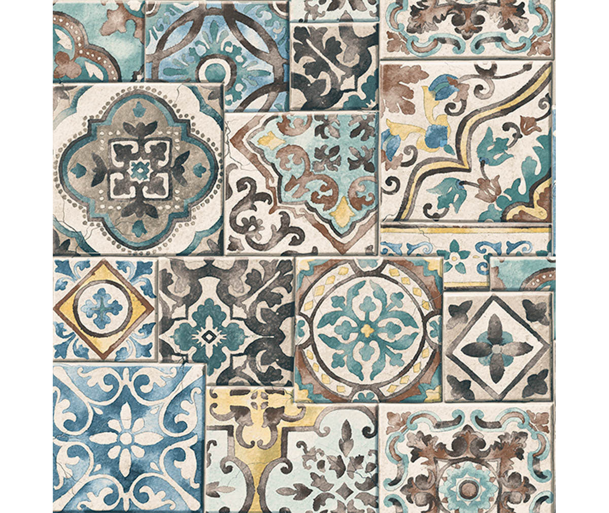 Marrakesh Tiles Teal Mosaic Wallpaper available at Barrydowne Paint