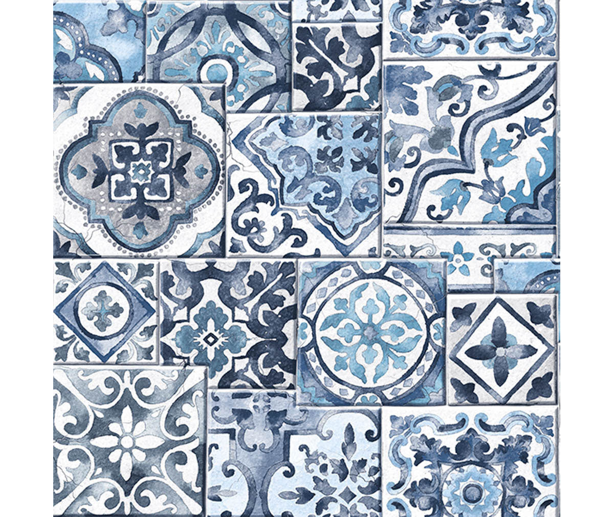 Marrakesh Tiles Blue Mosaic Wallpaper available at Barrydowne Paint