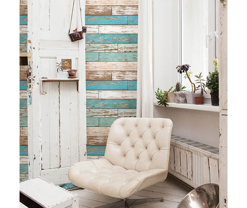 Scrap Wood Turquoise Weathered Texture Wallpaper available at Barrydowne Paint