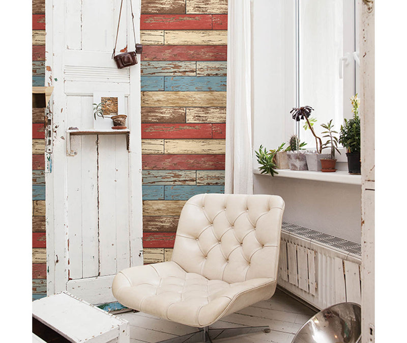 Scrap Wood Red Weathered Texture Wallpaper available at Barrydowne Paint