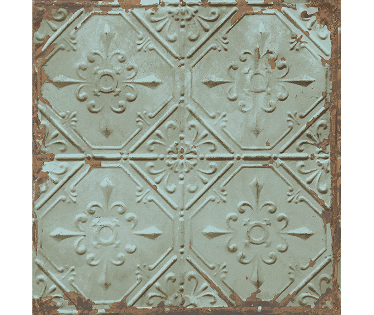 Tin Ceiling Teal Distressed Tiles Wallpaper available at Barrydowne Paint