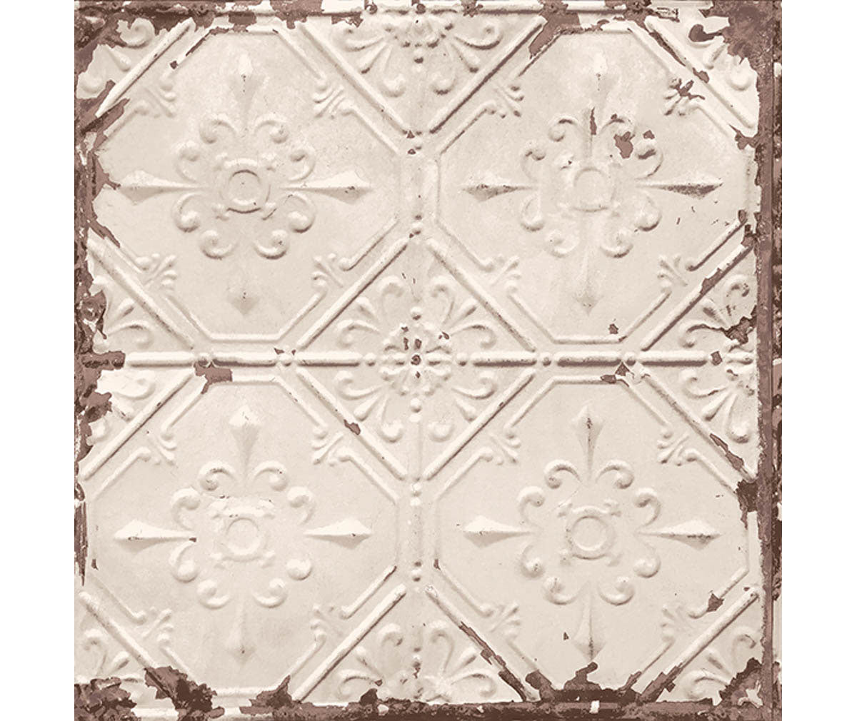 Tin Ceiling Beige Distressed Tiles Wallpaper available at Barrydowne Paint