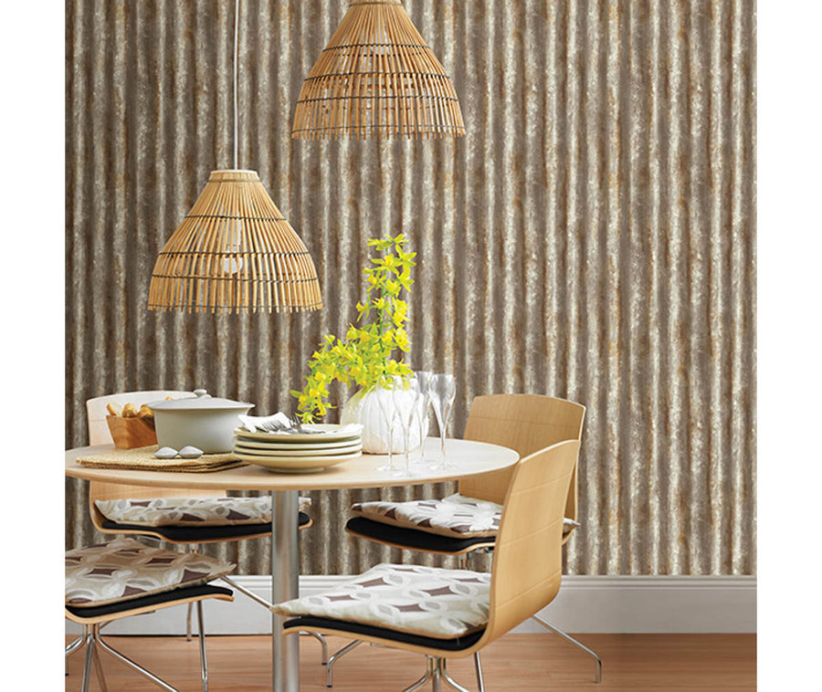 Corrugated Metal Rust Industrial Texture Wallpaper available at Barrydowne Paint