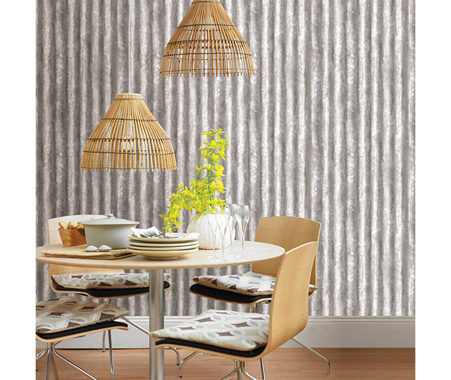 Corrugated Metal Silver Industrial Texture Wallpaper available at Barrydowne Paint