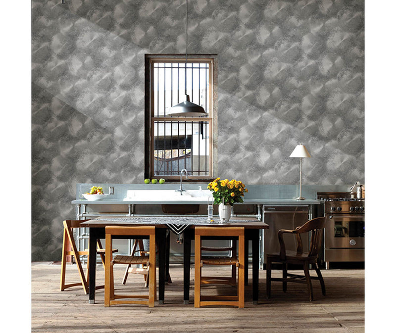 Tarnished Metal Pewter Metallic Texture Wallpaper available at Barrydowne Paint