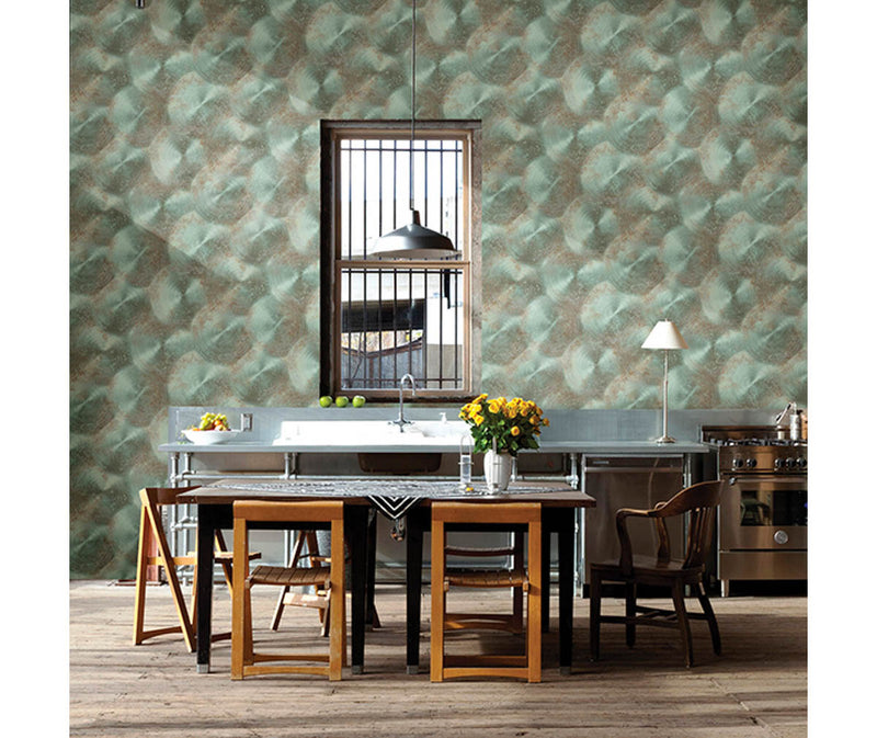 Tarnished Metal Turquoise Metallic Texture Wallpaper available at Barrydowne Paint