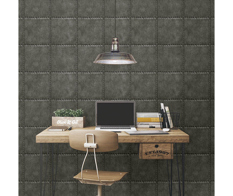 Sheet Metal Charcoal Rivets Wallpaper available at Barrydowne Paint