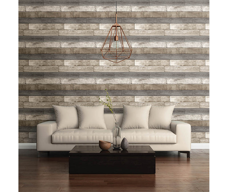 Weathered Plank Grey Wood Texture Wallpaper available at Barrydowne Paint