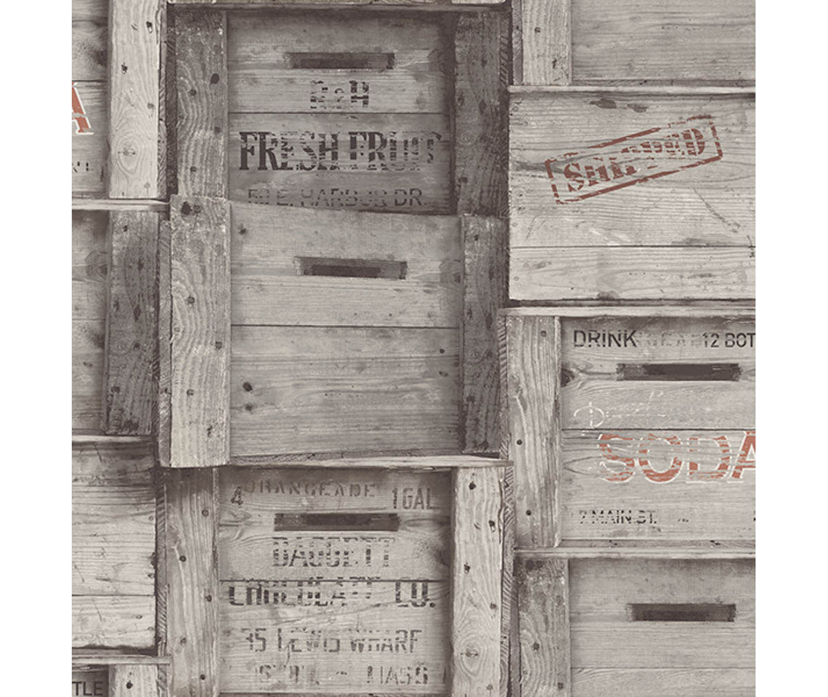 Wood Crates Grey Distressed Wood Wallpaper available at Barrydowne Paint
