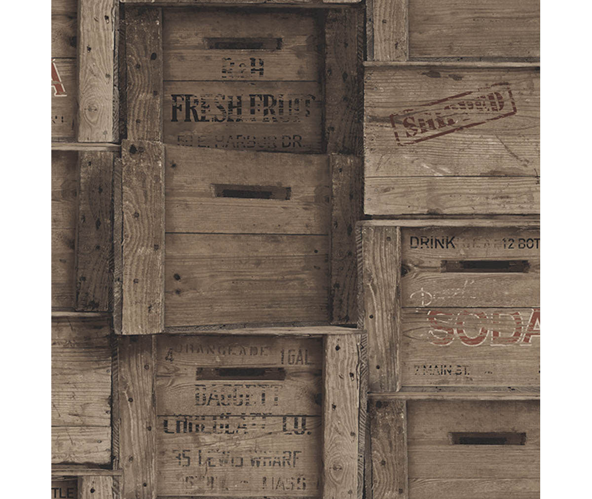 Wood Crates Dark Wood Distressed Wood Wallpaper available at Barrydowne Paint