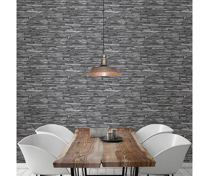 Stacked Slate Charcoal Industrial Wallpaper available at Barrydowne Paint