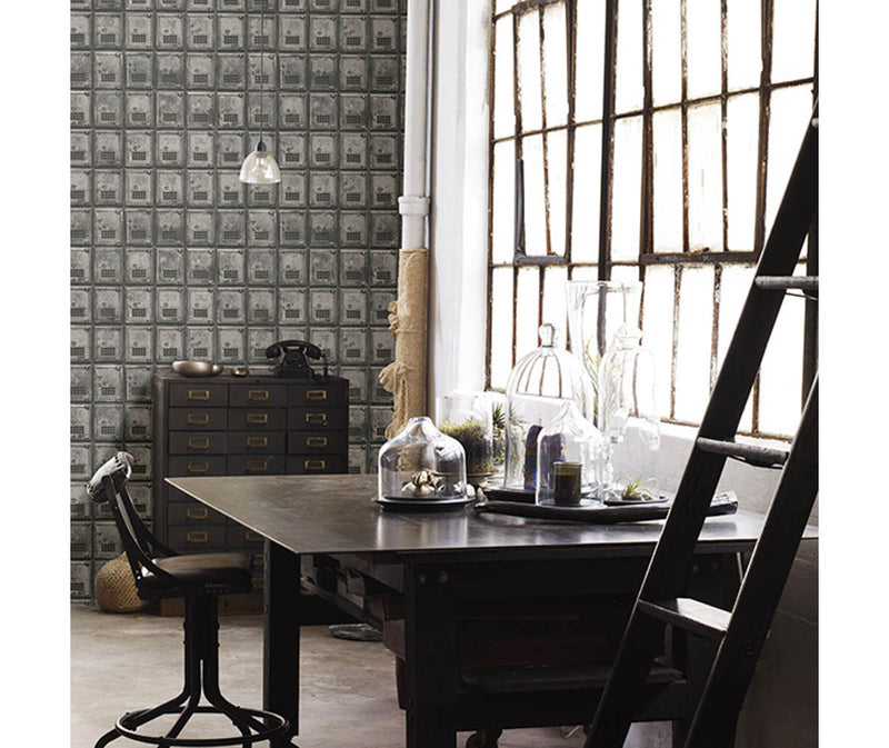 Vintage P.O. Boxes Charcoal Distressed Metal Wallpaper available at Barrydowne Paint