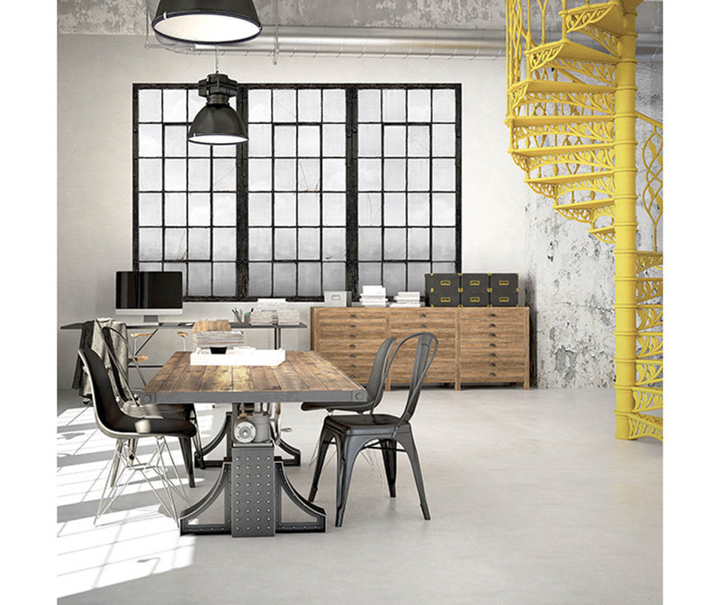 Warehouse Windows Charcoal Industrial Texture Wall Mural available at Barrydowne Paint