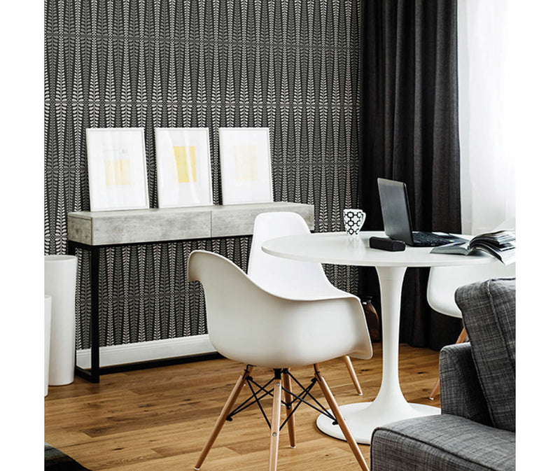 Stellar Black Floral Stripe Wallpaper available at Barrydowne Paint