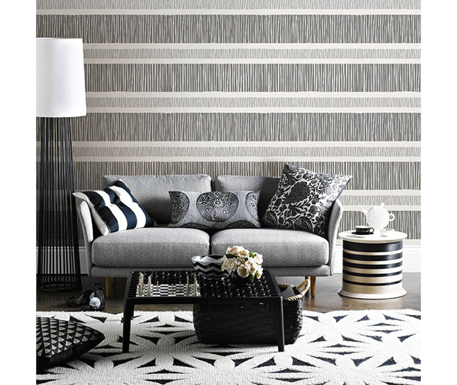 Gravity Black Stripe Wallpaper available at Barrydowne Paint