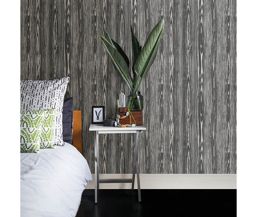 Illusion Black Wood Wallpaper available at Barrydowne Paint