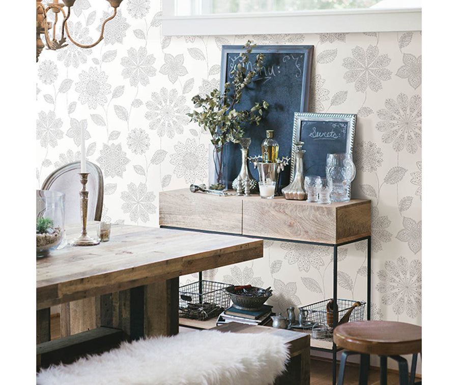 Panache Grey Floral Wallpaper available at Barrydowne Paint